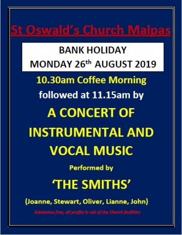 Bank Holiday Monday 26th August